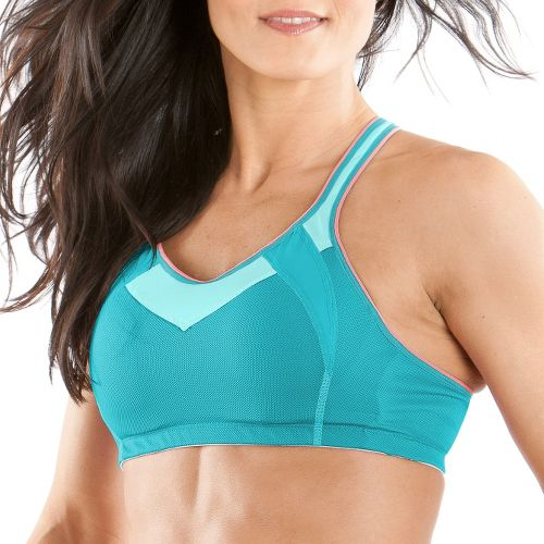 Womens Moving Comfort Urban X Over A/B Sports Bra - Aqua/Ocean L