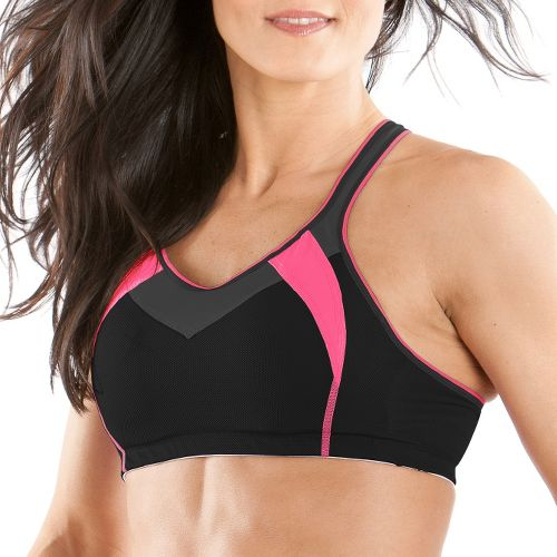 Womens Moving Comfort Urban X Over A/B Sports Bra - Black/Shimmer S