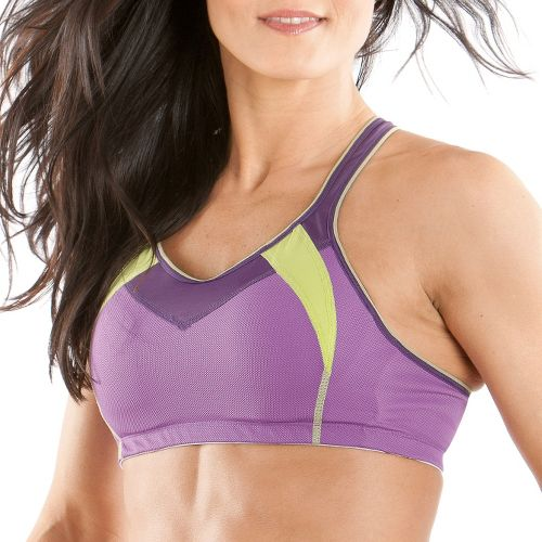 Womens Moving Comfort Urban X Over A/B Sports Bra - Violet/Lime M