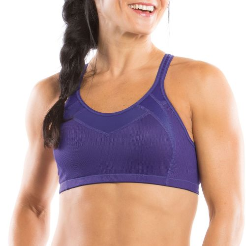 Womens Moving Comfort Urban X Over C/D Sports Bra - Dark Purple/Leather M