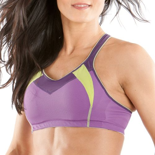 Womens Moving Comfort Urban X Over C/D Sports Bra - Violet/Lime M