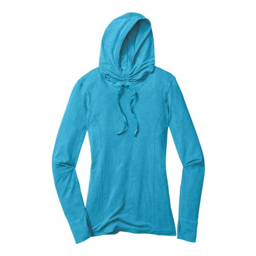 Womens Moving Comfort Flex Hoodie Long Sleeve No Zip Technical Tops - Blizzard Heather L ...