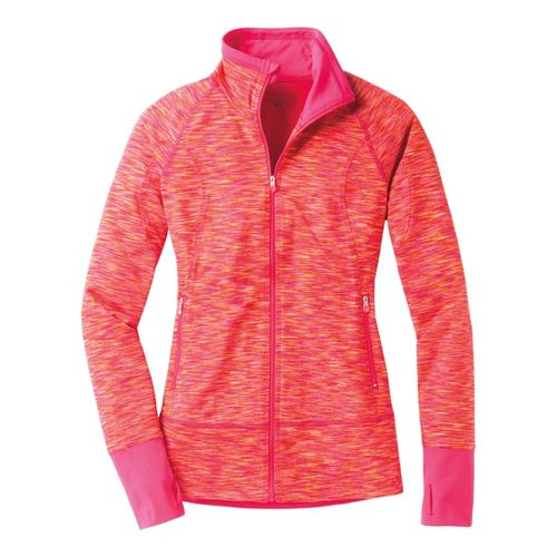 Womens Moving Comfort Foxie Full Zip Warm-Up Unhooded Jackets - Flame/Pink Shock XL
