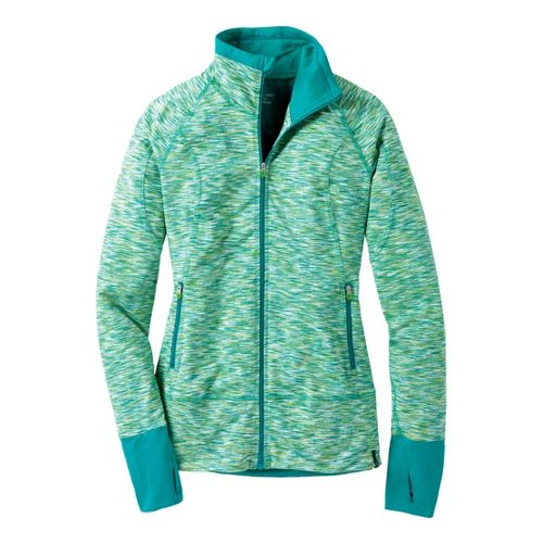 Womens Moving Comfort Foxie Full Zip Warm-Up Unhooded Jackets - Jade Melange XS