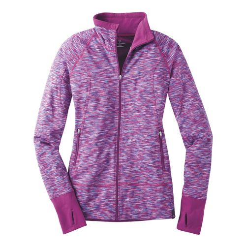 Womens Moving Comfort Foxie Full Zip Warm-Up Unhooded Jackets - Purple Fizz L