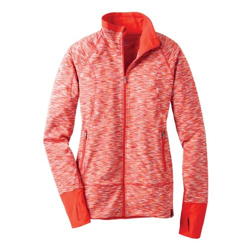 Womens Moving Comfort Foxie Full Zip Warm-Up Unhooded Jackets - Red Hot Melange L