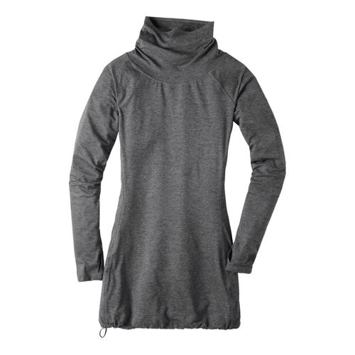 Womens Moving Comfort Chic Tunic Long Sleeve No Zip Technical Tops - Heather Grey L ...