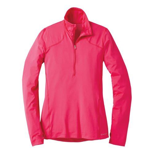 Womens Moving Comfort Dash (Plus Sizes) Long Sleeve 1/2 Zip Technical Tops - Pink Shock ...