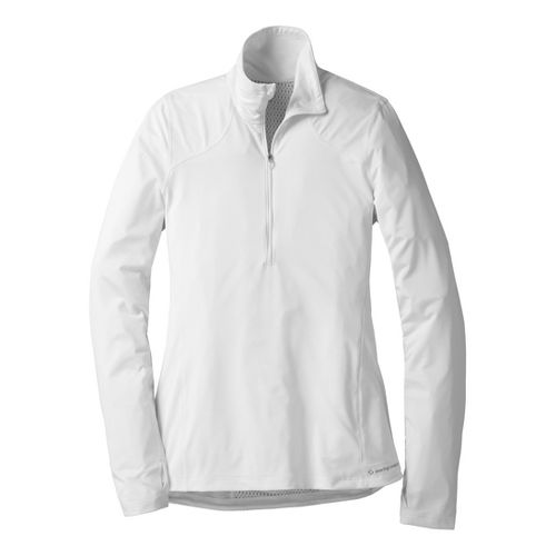 Womens Moving Comfort Dash (Plus Sizes) Long Sleeve 1/2 Zip Technical Tops - White 1X ...