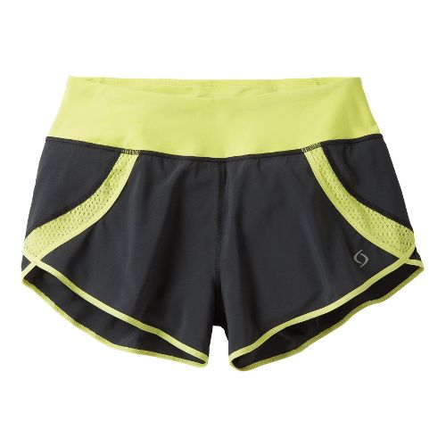 Womens Moving Comfort Momentum Lined Shorts - Asphalt/Flash L