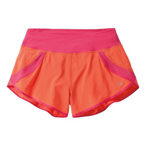 Womens Moving Comfort Momentum Lined Shorts - Flame/Pink Shock XL
