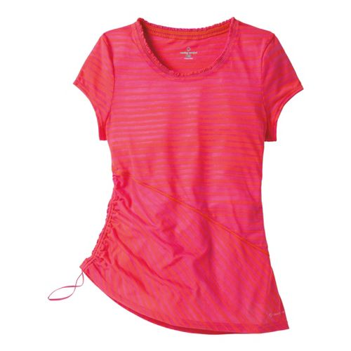 Womens Moving Comfort Flaunt It Tee Short Sleeve Technical Tops - Flame/Pink Shock XL