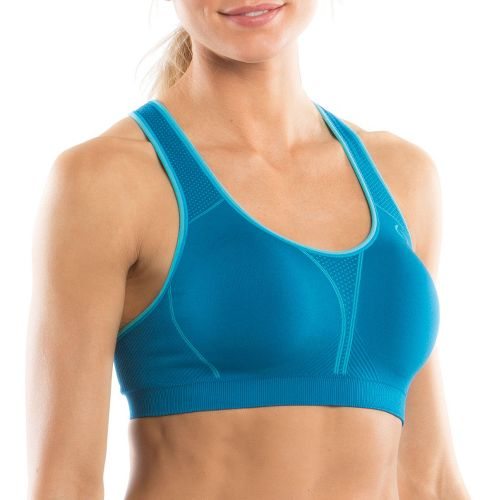 Womens Moving Comfort JustRight Racer Sports Bra - Crush/Sky L