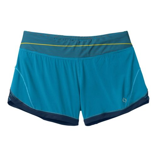 Womens Moving Comfort Momentum Lined Shorts - Blizzard L
