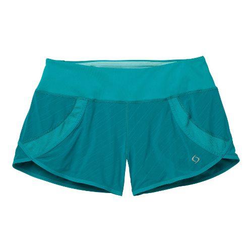 Womens Moving Comfort Momentum Lined Shorts - Ocean/Print 2X