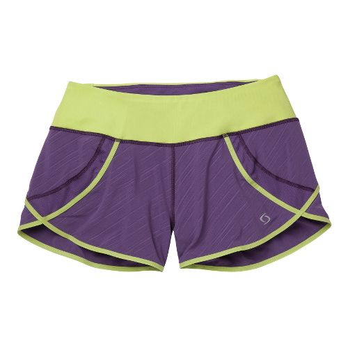 Womens Moving Comfort Momentum Lined Shorts - Twilight Lucky Stripe XS