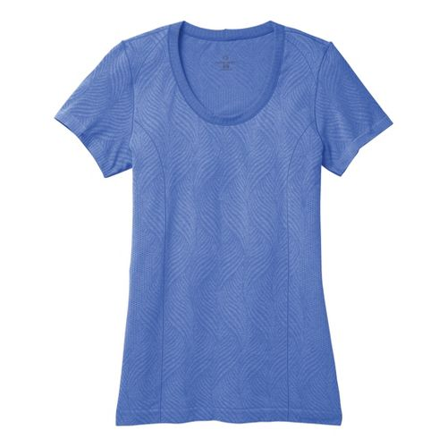 Womens Moving Comfort Flex Tee Short Sleeve Technical Tops - Cove Heather L