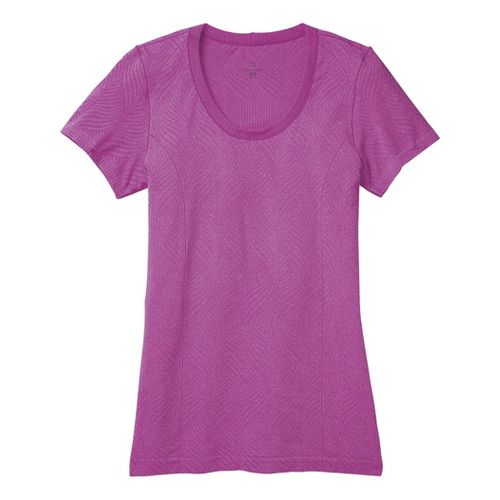 Womens Moving Comfort Flex Tee Short Sleeve Technical Tops - Daydream Heather L