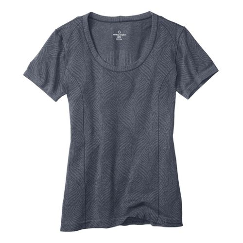 Womens Moving Comfort Flex Tee Short Sleeve Technical Tops - Ebony Heather L
