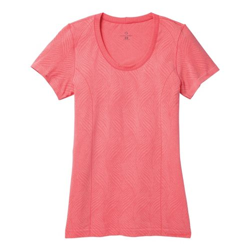 Womens Moving Comfort Flex Tee Short Sleeve Technical Tops - Fiesta Heather S