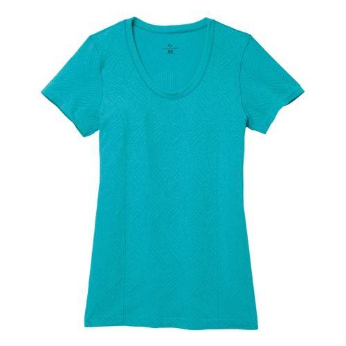 Womens Moving Comfort Flex Tee Short Sleeve Technical Tops - Ocean Heather L