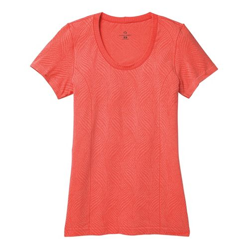Womens Moving Comfort Flex Tee Short Sleeve Technical Tops - Red Hot Heather L