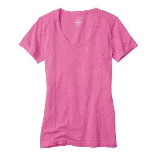 Womens Moving Comfort Flex Tee Short Sleeve Technical Tops - Shimmer/Heather M