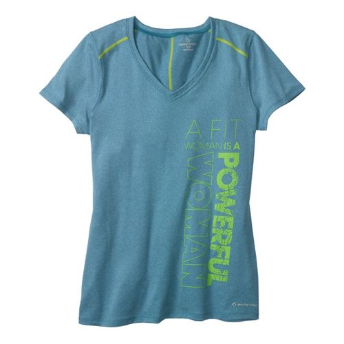 Womens Moving Comfort Performance Tee Short Sleeve Technical Tops - Blizzard Heather 2X
