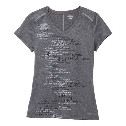 Womens Moving Comfort Performance Tee Short Sleeve Technical Tops - Charcoal Heather/Blue Night S