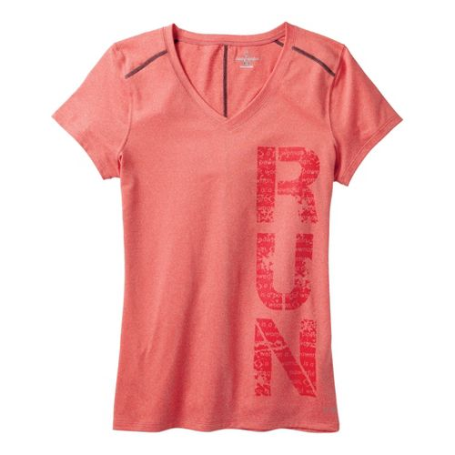 Womens Moving Comfort Performance Tee Short Sleeve Technical Tops - Red Hot Heather XL