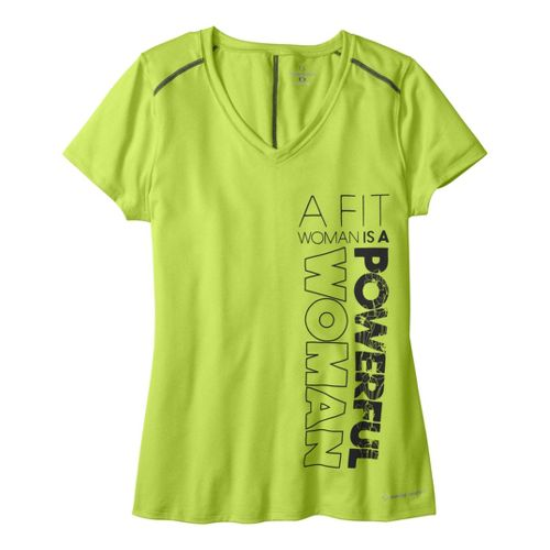 Womens Moving Comfort Performance Tee Short Sleeve Technical Tops - Zing/Heather XL