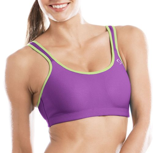Womens Moving Comfort Divine Mesh Sports Bra - Violet/Lime 34C