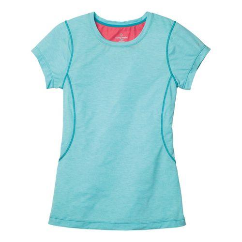 Womens Moving Comfort Endurance Tee Short Sleeve Technical Tops - Aqua Heather L
