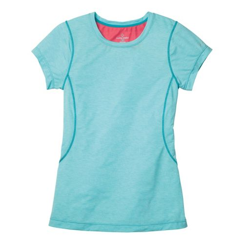Womens Moving Comfort Endurance Tee Short Sleeve Technical Tops - Aqua Heather S