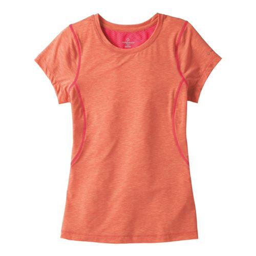 Womens Moving Comfort Endurance Tee Short Sleeve Technical Tops - Flame Heather XS