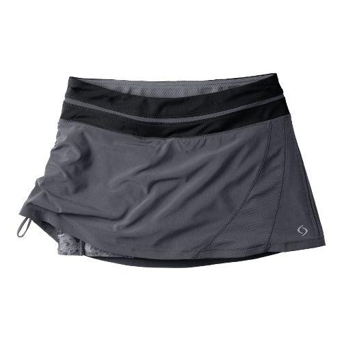 Womens Moving Comfort Sprint Tech Skort Fitness Skirts - Ebony/Ebony Mosaic 2X