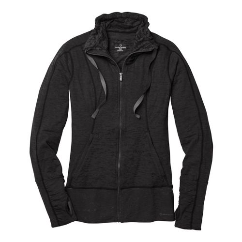 Womens Moving Comfort Flow Burnout Warm-Up Unhooded Jackets - Black 1X