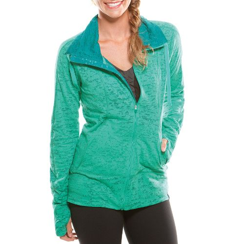 Womens Moving Comfort Flow Burnout Warm-Up Unhooded Jackets - Jade XL
