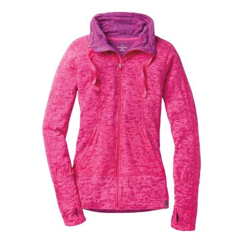 Womens Moving Comfort Flow Burnout Warm-Up Unhooded Jackets - Sweet Pea S
