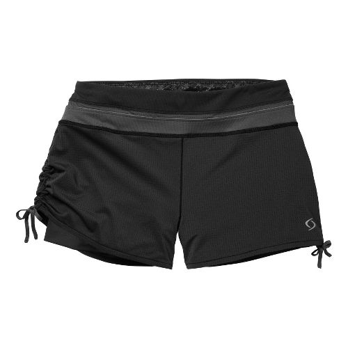 Womens Moving Comfort Flow Mesh 2-in-1 Shorts - Black/Ebony L