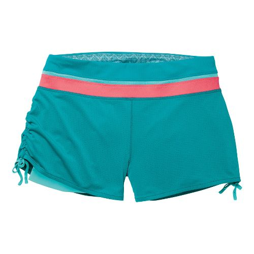 Womens Moving Comfort Flow Mesh 2-in-1 Shorts - Ocean/Fiesta L
