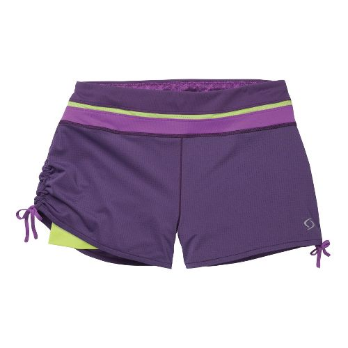 Womens Moving Comfort Flow Mesh 2-in-1 Shorts - Twilight/Violet L