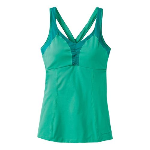 Womens Moving Comfort Flow Crossback Tank A/B Sport Top Bras - Jade S