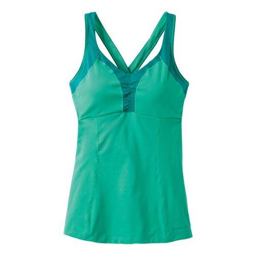 Womens Moving Comfort Flow Crossback Tank C/D Sport Top Bras - Jade XL