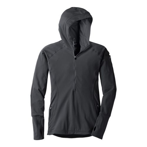 Womens Moving Comfort Just Right Hoodie Long Sleeve 1/2 Zip Technical Tops - Black 1X ...