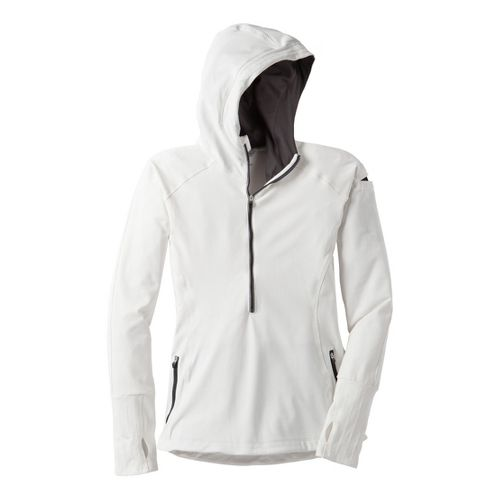 Womens Moving Comfort Just Right Hoodie Long Sleeve 1/2 Zip Technical Tops - Creme M ...