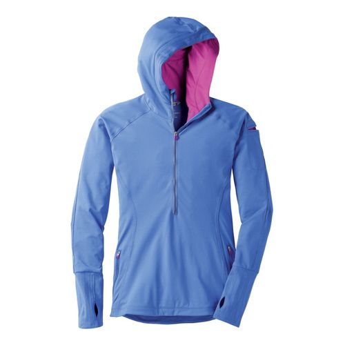 Womens Moving Comfort Just Right Hoodie Long Sleeve 1/2 Zip Technical Tops - Cove L ...