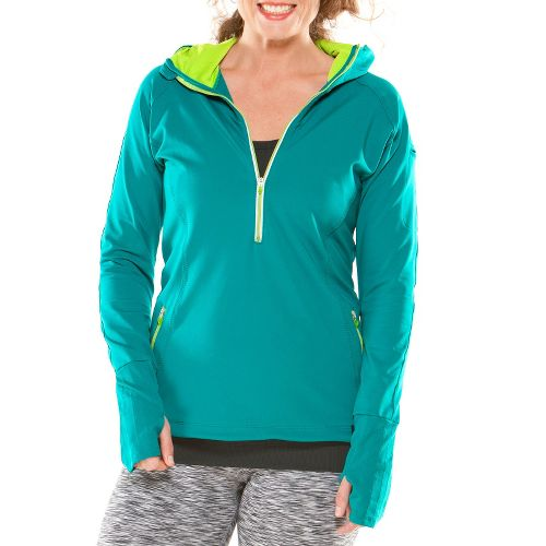 Womens Moving Comfort Just Right Hoodie Long Sleeve 1/2 Zip Technical Tops - Luxe L ...