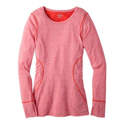 Womens Moving Comfort Endurance Long Sleeve No Zip Technical Tops - Red Hot Heather XS ...