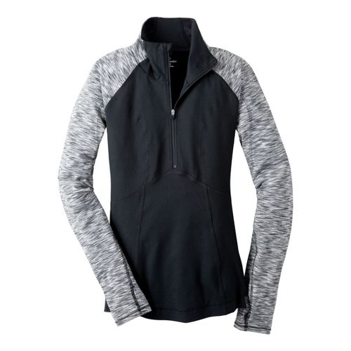 Womens Moving Comfort Foxie Long Sleeve 1/2 Zip Technical Tops - Black 1X